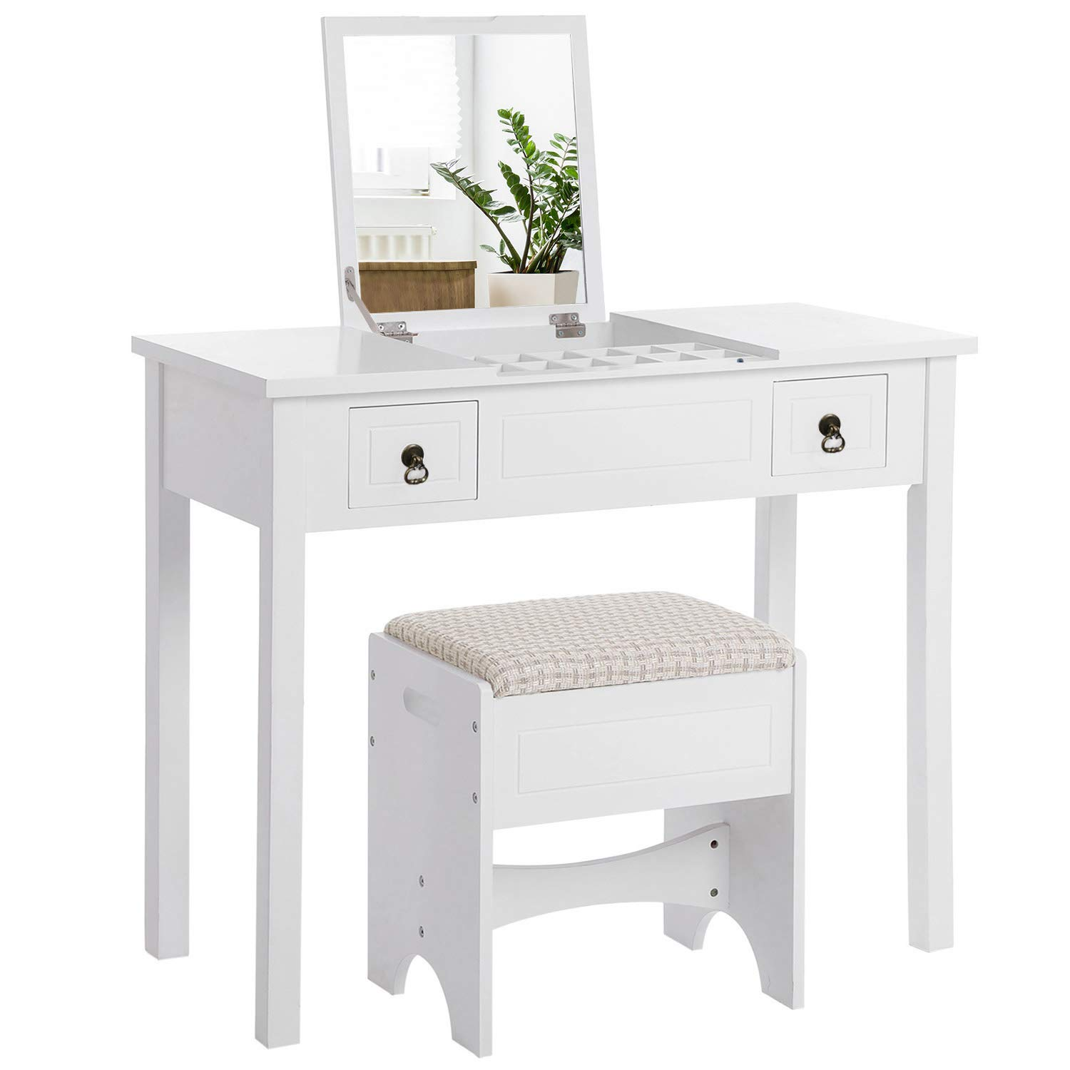 VASAGLE Vanity Set with Flip Top Mirror Makeup Dressing Table Writing Desk with 2 Drawers Cushioned Stool 3 Removable Organizers, Easy Assembly, White URDT01M by VASAGLE