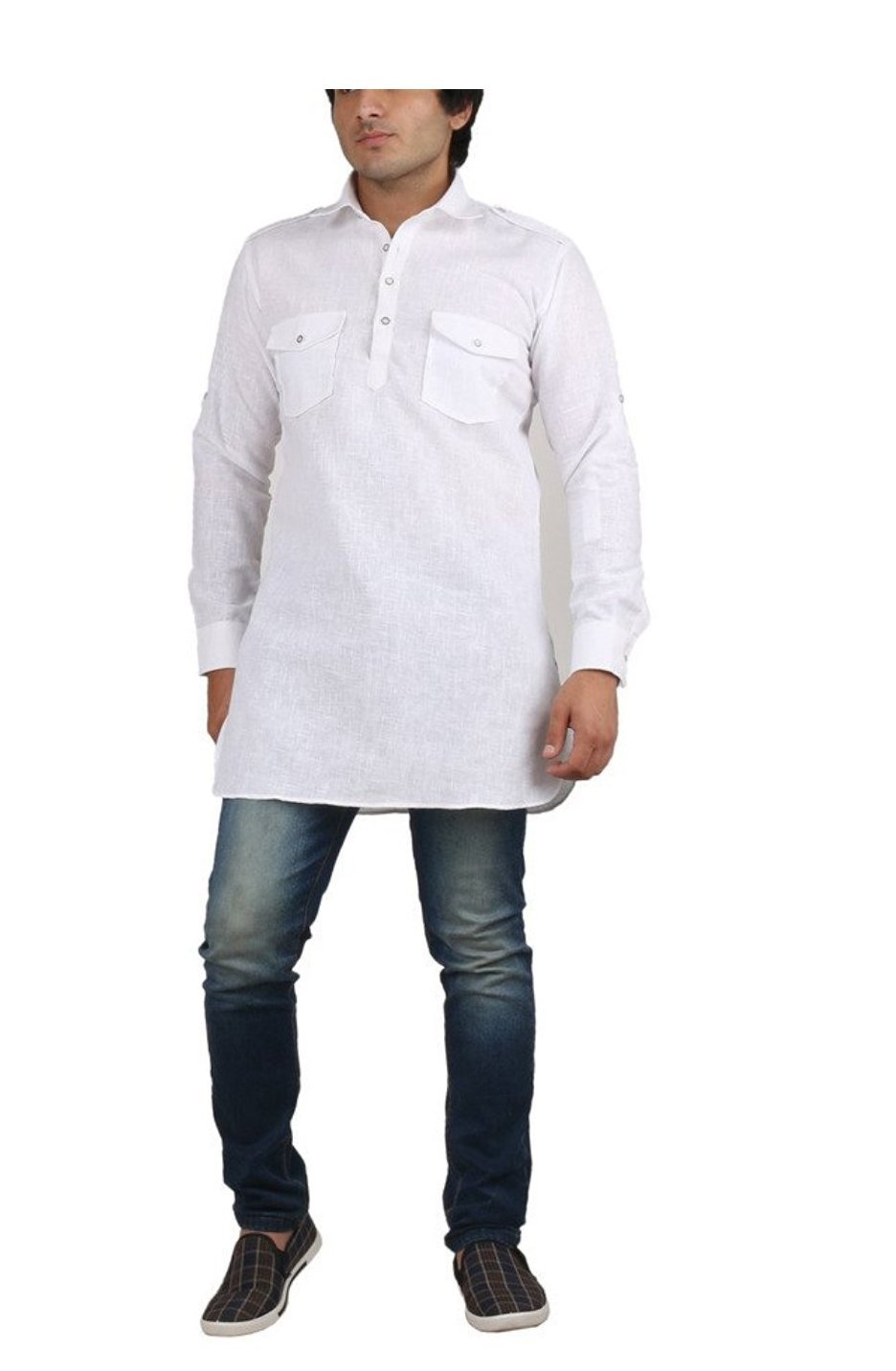 Royal Kurta Men's Fine Cotton Short Pathani Kurta For Denims 38 White