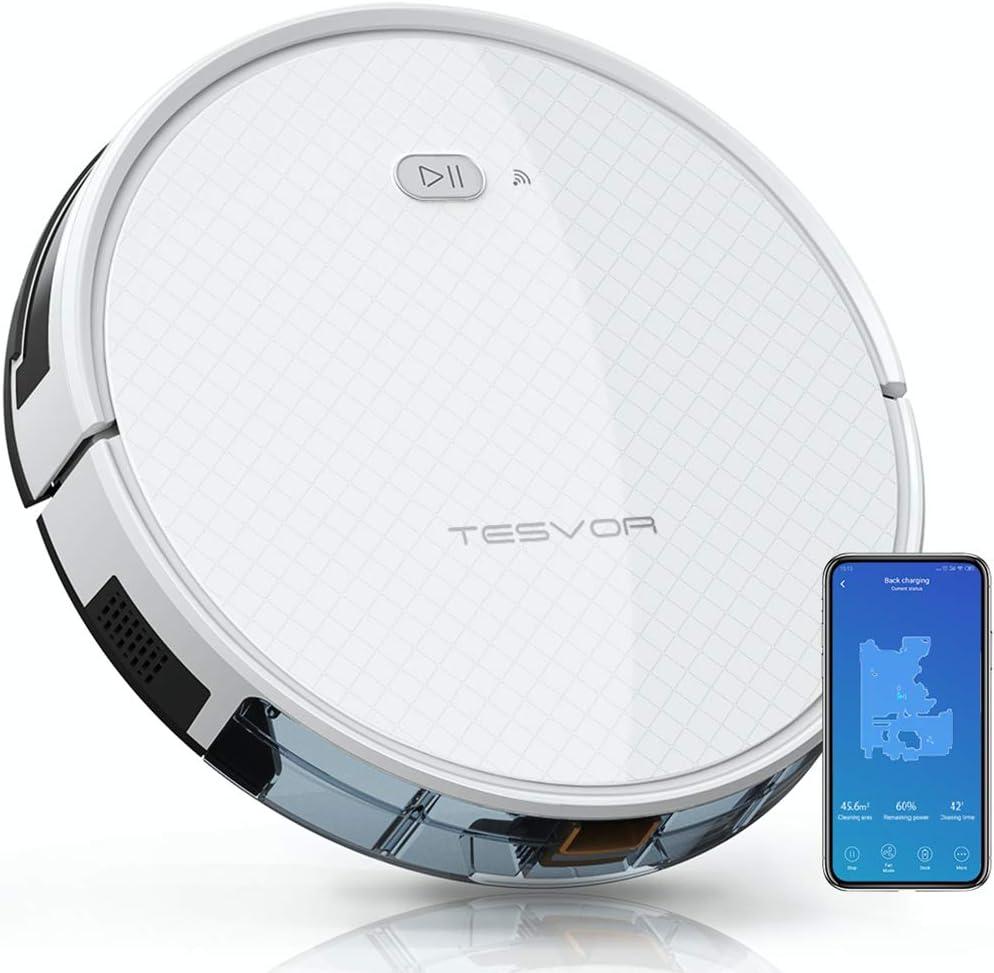 Robot aspirador 2 en 1 de Tesvor X500pro, robot de limpieza inteligente giroscópico, 350 ml, depósito de agua electrónico, indicador de limpieza en tiempo real para suelos lisos: Amazon.es: Hogar