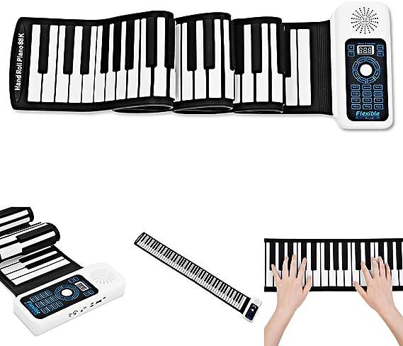 XMZWD Piano Roll Up Flexible, Silicona Portátil 88 Teclas ...