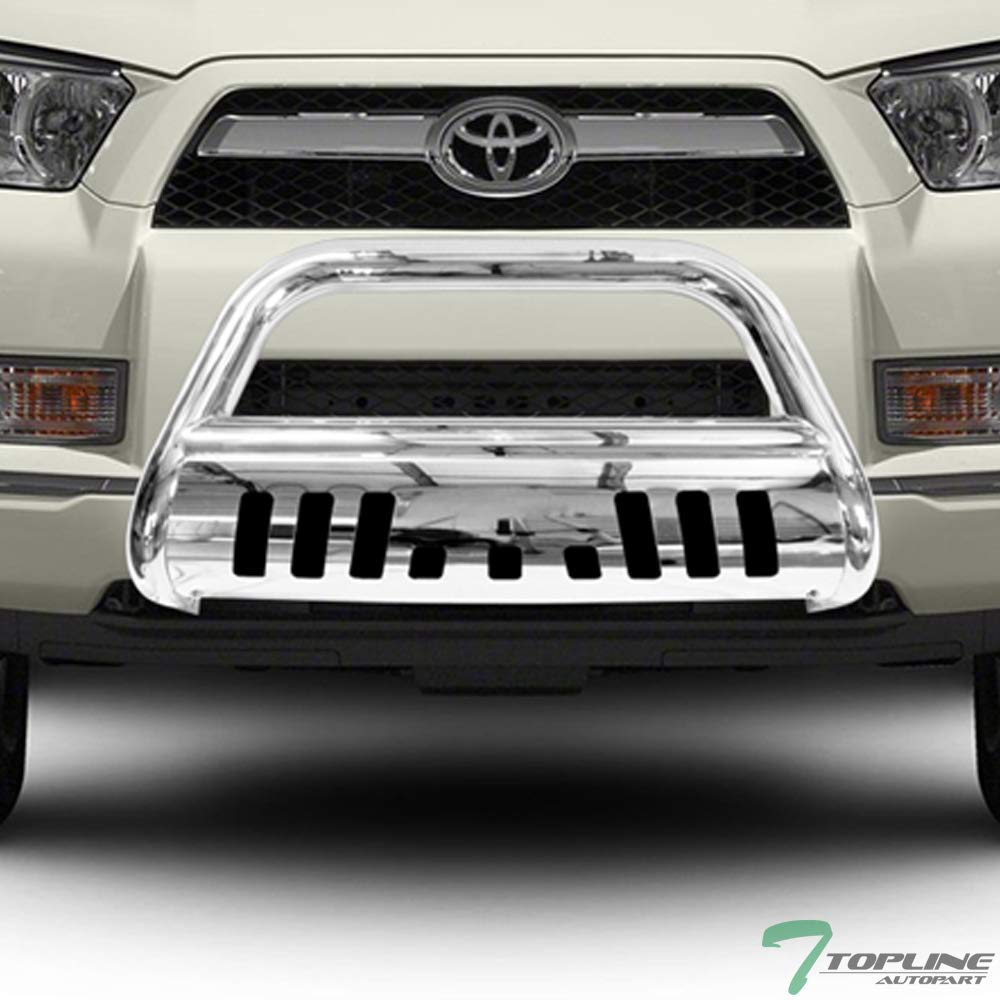 Topline Autopart Stainless Steel Chrome HD Heavyduty Bull Bar Brush Push Front Bumper Grill Grille Guard V2 w/ Skin Plate 10-16 Toyota 4Runner Topline_autopart