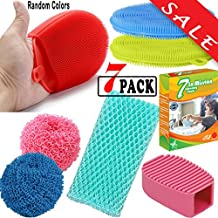 Silicone Dish Sponges Scrubber for Non-stick Pans, Pots Bowls, Kitchen Dishes. Antibacterial, Food-grade Brush Cleaning |By EROS| (Bundle-7 items:4 Assorted Silicone sponge+2 Scourers+Scrubber cloth)