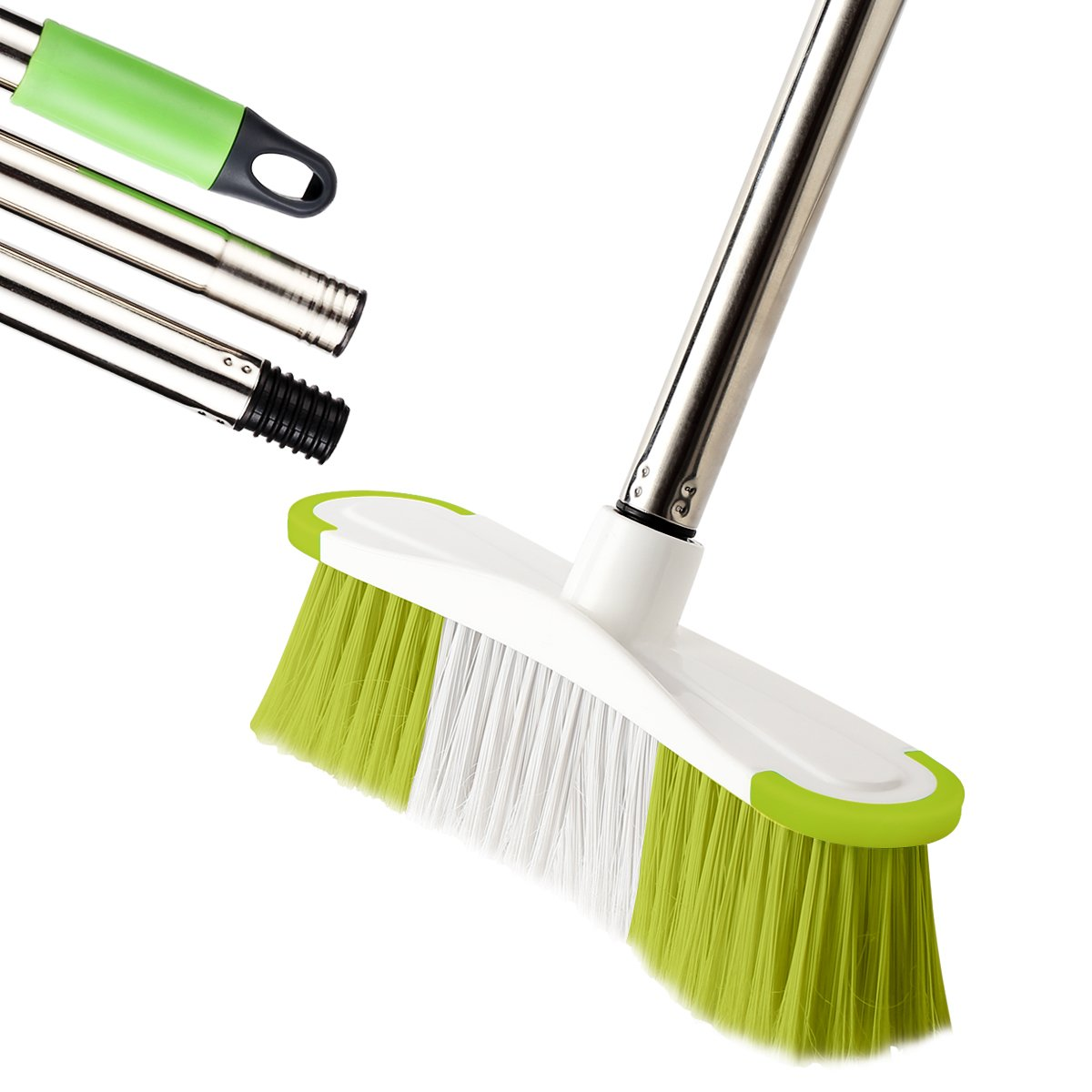 MEIBEI Deck Brush, Heavy Duty Deck Scrubber with Adjustable Stainless Steel Long Handle-51 Inches, Commercial Floor Scrub Brush, Perfect for Cleaning Deck, Patio, Hallway, Driveway and Boat