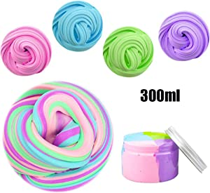 SWZY Unicorn Fluffy Slime, Jumbo Floam Cloud Colorful Rainbow Slime Stress Relief Toy for Kids and Adults, 4 Colour 300ML