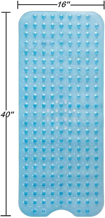 bianco senza scivolamento 100 x 40 cm Alliebe in lattice con ventose da bagno per vasca da bagno Tappetino da doccia Bathub con fori di drenaggio opaco lavabile in lavatrice