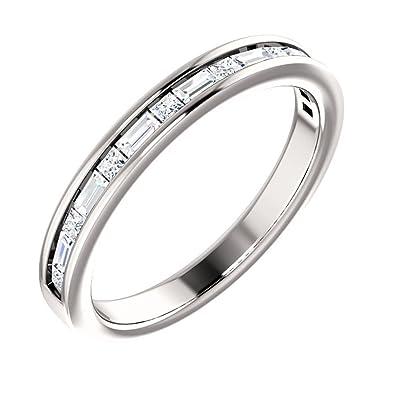 Amazon.com: 1.00 ct Ladies Princess And Baguette Cut Diamond Wedding ...