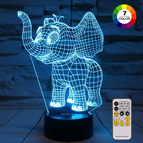 ZOKEA Night Light for Kids Elephant 3D Night