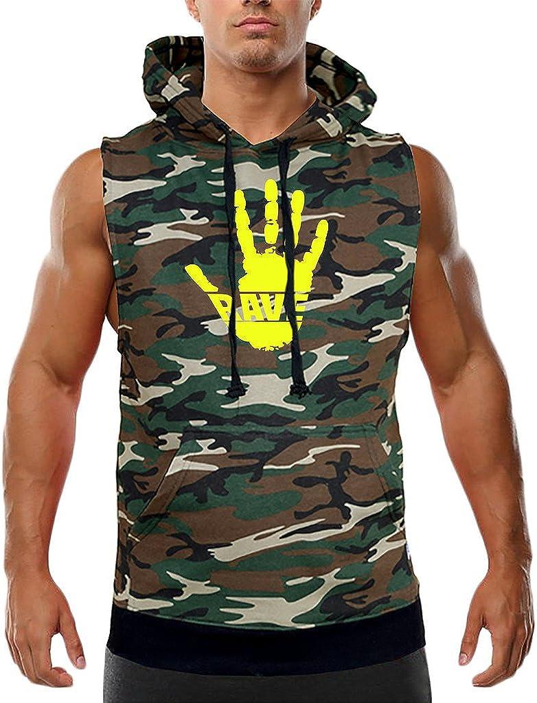 Mens Rave Handprint V423 Camo Sleeveless Vest Hoodie Camo