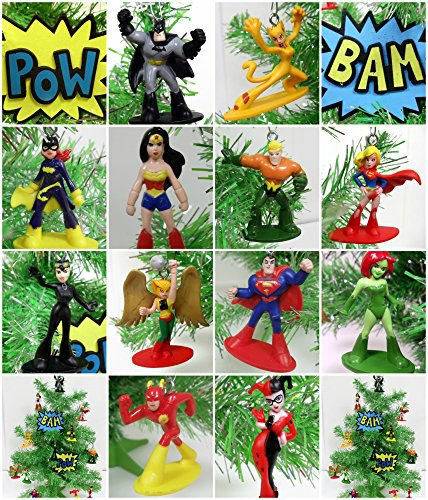 DC Comic Super Hero 14 Piece Christmas Tree Ornament Set Featuring Iconic Super Hero -