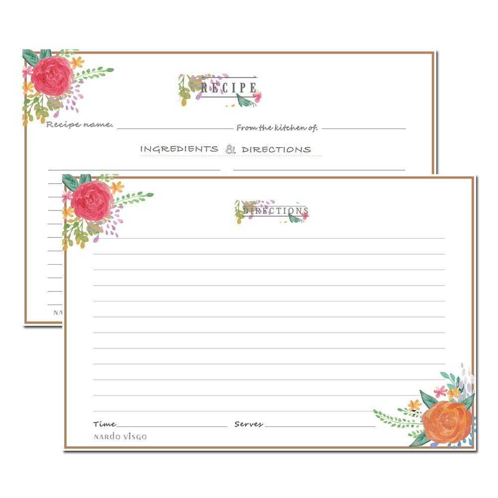 Recipe Cards 4x6 inches by Nardo Visgo, Set of 50 Double Sided Cards Wedding Bridal Shower Cards, Premium Thick Cardstock (blue bottom)