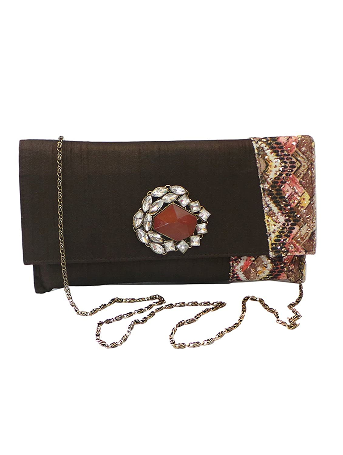 Bhamini Brown Electrifying Eclectic Clutch