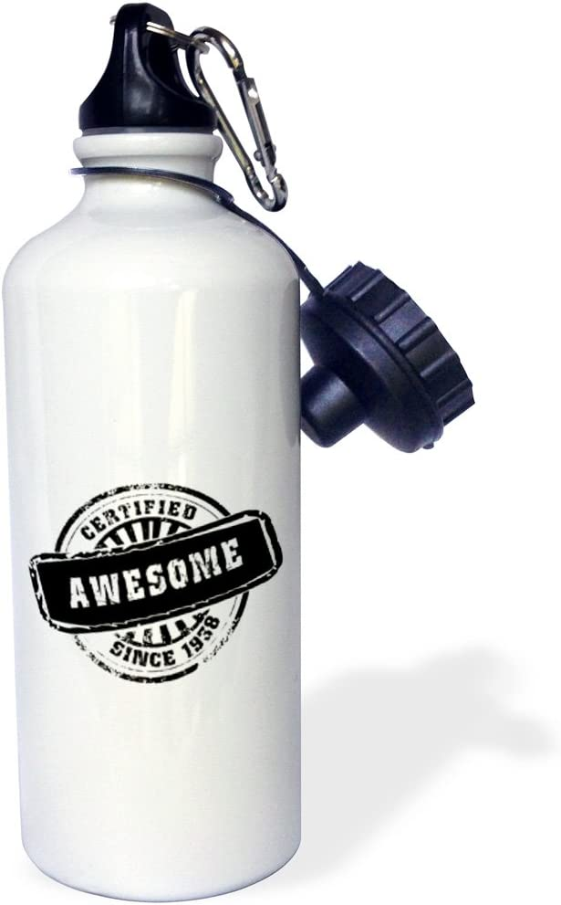 White 21 oz 3dRose wb/_161651/_1Certified Awesome since 1938-funny birthday personal birth year black stamp-fun humor humorous Sports Water Bottle