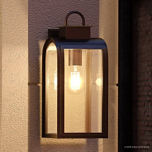 Luxury Art Deco Outdoor Wall Light, Medium Size 16 H x 8 W, with Farmhouse Style Elements, Oil Rubbed Bronze Finish, UHP1101 from The Chesterfield Collection by Urban Ambiance