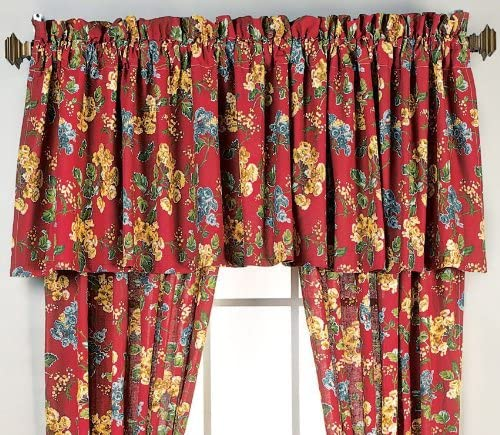 Kingston 84 W x 21 L Valance Red Burgundy Floral 100 Cotton 84 x21