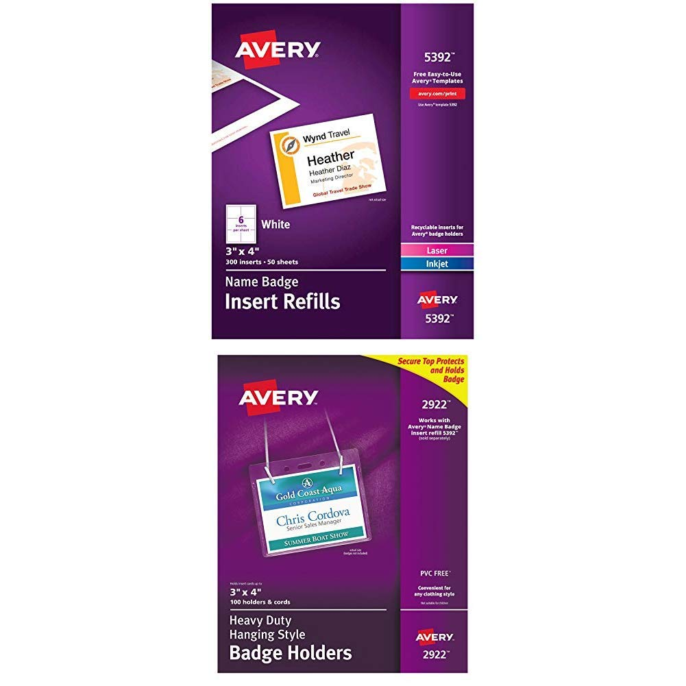 Avery Name Badge Inserts, Print or Write, 3'' x 4'', 300 Cardstock Refills (5392), White with Avery Clear Heavy-Duty Hanging Style Landscape Badge Holders, 3'' x 4'', Box of 100 (2922) by AVERY