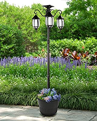 "80"" Tall Madison 3 Head Solar Lamp Post and Planter - Super Bright White LEDs, Black SKU 302013"