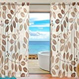 SAVSV Window Sheer Curtains Panels Voile Drapes Morden Leaves Floral Design 55'' W x 78'' L 2 Panels Great For Living Room Bedroom Girl's Room