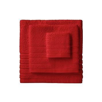 Barceló Hogar 05040010014 Juego de 3 toallas para bidé, lavabo y ducha, modelo Diamante, rizo americano, rojo: Amazon.es: Hogar