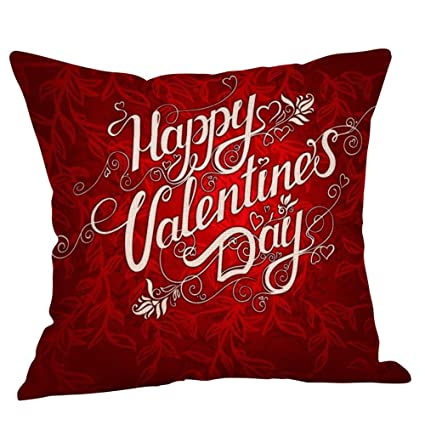 Romantic Love Hearts Be Mine Home Decor Valentines Day Gift Throw Pillow Covers Decorative Pillow Cases 18 x 18 for Couch Cushion Pillows