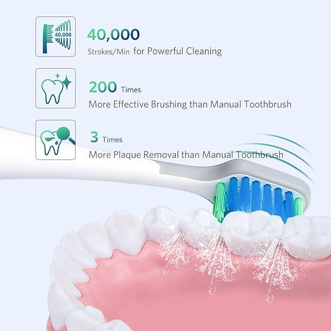 Liaboe Cepillo Dientes Electrico Sónico, Recargable Cepillo Dental Electrico con 3 Modos, Base de Carga Inalámbrica, 40,000 Oscilaciones/Min y 4 Cabezas de ...