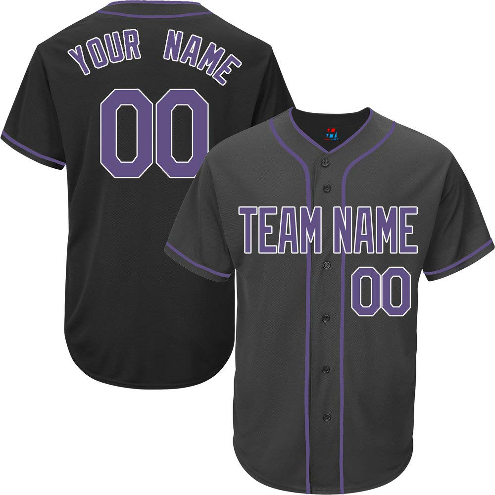 Black Custom Baseball Jersey for Men Full Button Mesh Big and Tall Personalized Name & Numbers,Purple-White Size 4XL by Pullonsy
