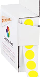 ChromaLabel 1/2 Inch Round Removable Color-Code Dot Stickers, 1000 per Dispenser Box, Yellow
