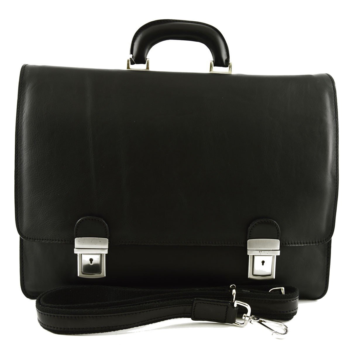 Made In Italy Genuine Leather Business Bag Color Black - Business Bag   B01N5WHXDT