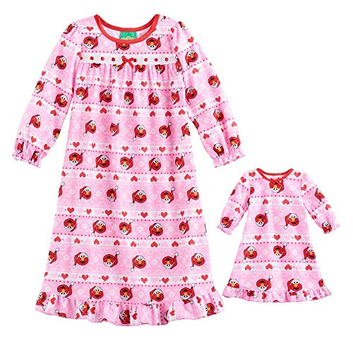 Sesame Street Girl's Pink Santa Elmo Flannel Nightgown with Doll Gown (3T)