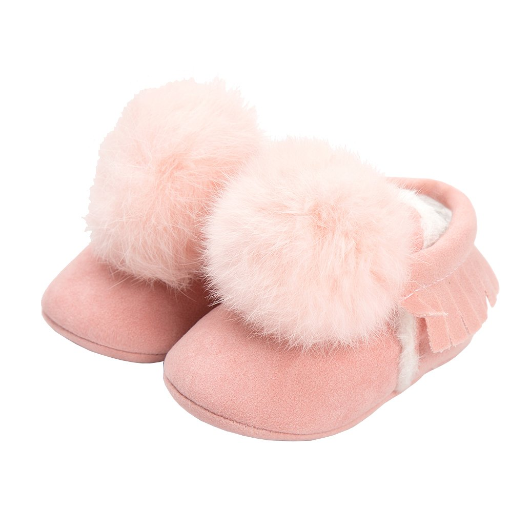 LINKEY Baby Girls Suede Tassel Pom Pom Moccasins Mary Jane Princess Dress Crib Shoes Deep Light Pink Size M