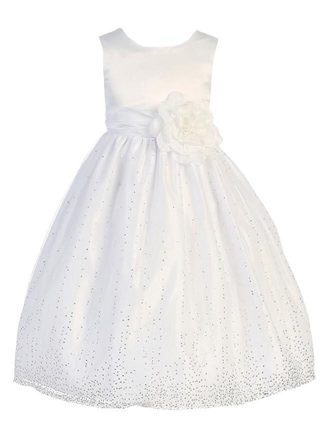 BIMARO BIMARO Mädchen Kleid Laguna Weiß mit Glitzer Tüll Satin Blüte ...