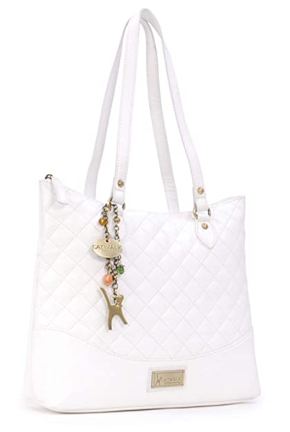 Catwalk Collection Handbags - Women s Quilted Leather Tote Shoulder Bag -  SOFIA - White 294af455614c7