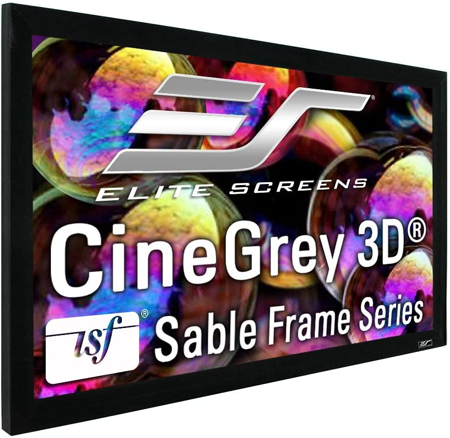 Elite Screens Ceiling and Ambient Light Rejecting Fixed Frame Projector Screen Sable Frame CineGrey 3D, 100-inch Diagonal 16:9 for Home Theater, Movie and Office Presentations, ER100DHD3