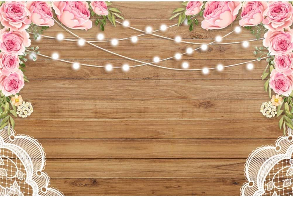 9x16 FT Rose Vinyl Photography Backdrop,Valentines Rose Petals on Wood Planks Forming a Heart Shape Romance Love Passion Background for Party Home Decor Outdoorsy Theme Shoot Props