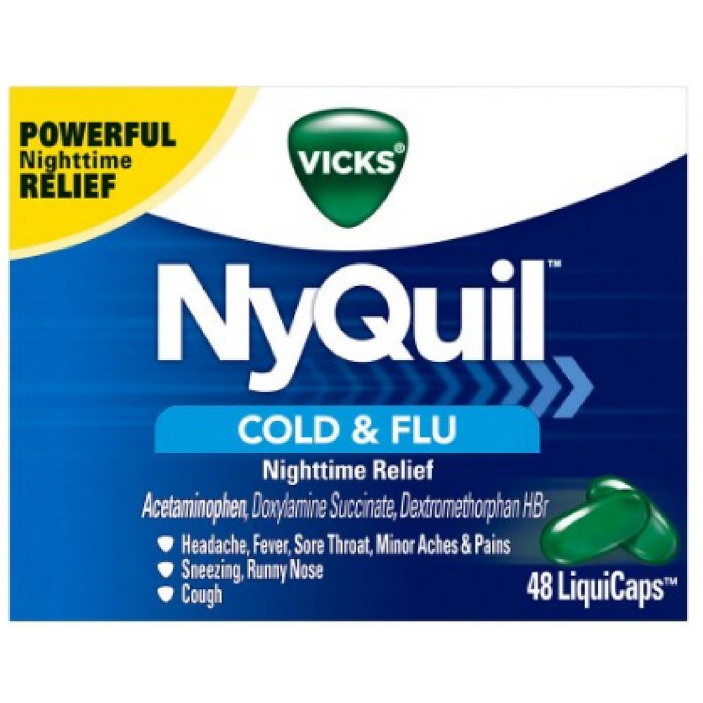 Vicks NyQuil Cold & Flu Nighttime Relief LiquiCaps 24 ea (Pack of 10)
