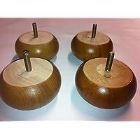 Foam & Upholstery Warehouse X4 Wooden Bun Feet Golden Oak Lacquered Finish
