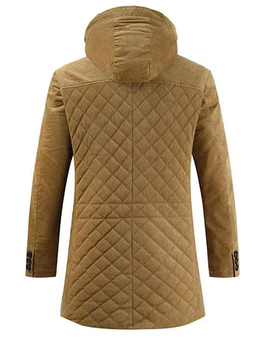 CRYYU Men Thicken Zip Up Hooded Button Winter Packable Quilted Coat Puffer Jacket