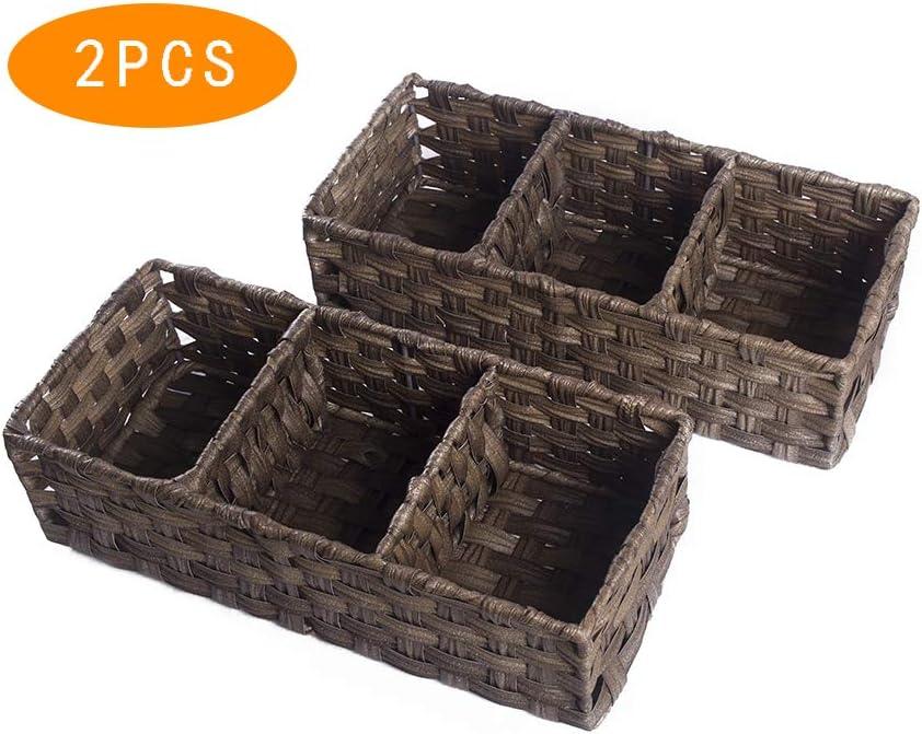 HOSROOME Toilet Paper Basket Storage Basket for Toilet Tank Top Bathroom Storage Organizer Basket Bin Decorative Basket for Bathroom,Brown
