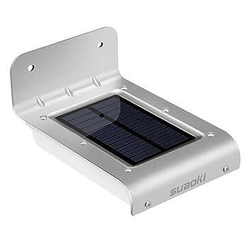 SUAOKI - 16 LED Lámpara Aplique Solar Foco Metálico Solar (800mAh Recargable, Doble Sensor