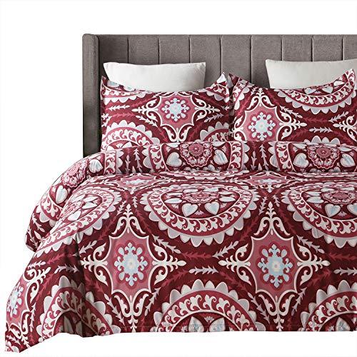 Vaulia Lightweight Microfiber Duvet Cover Set, Bohemia Exotic Patterns Design, Red/Grey Reversible Color - Full/Queen Size