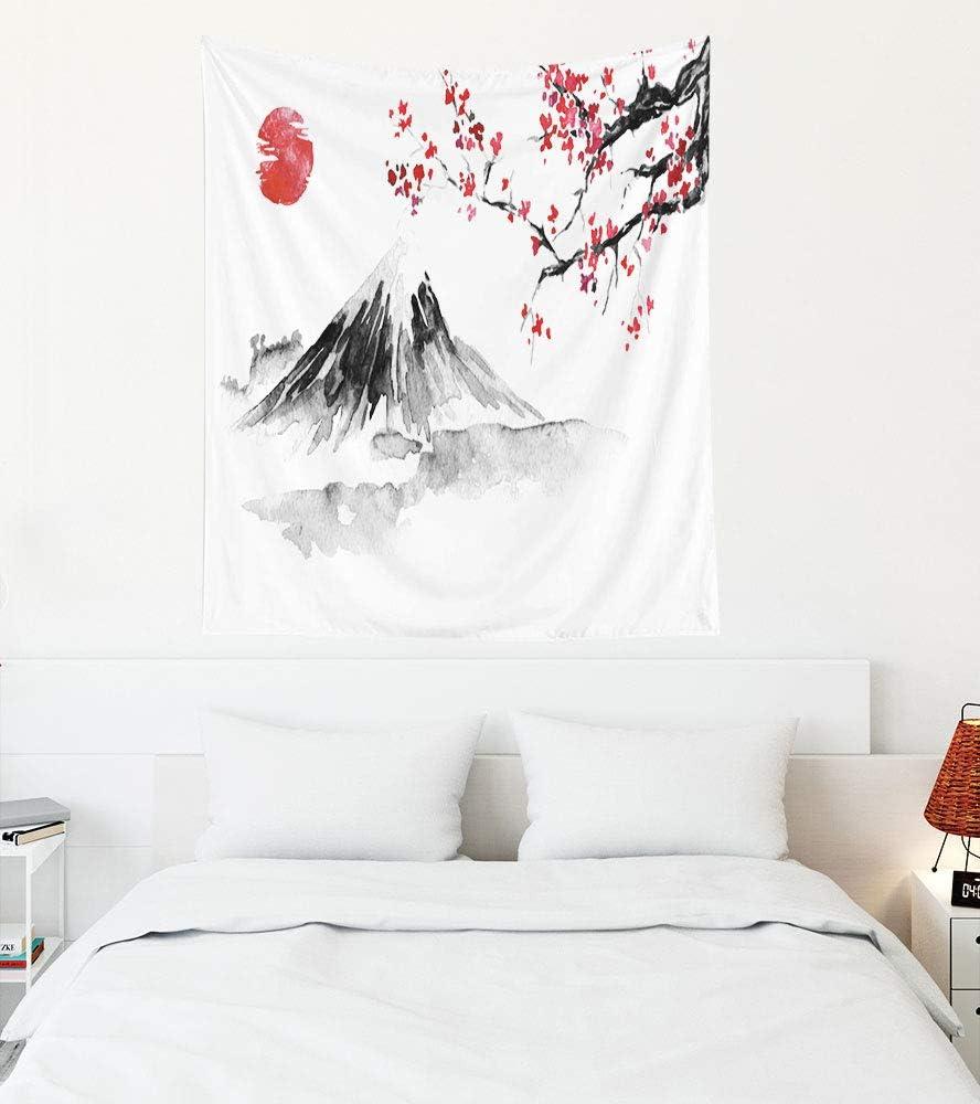 Jacrane Sakura Tree Tapestry,White at Black Tapestry 50X60 Inches Japan Traditional Sumie Painting Fuji Mountain Sakura Sunset Japan Sun Ink Japanese Picture Home Dorm Wall Art Decor