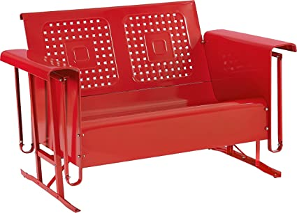 Patio Furniture Loveseat Glider.Crosley Furniture Bates Loveseat Glider Red