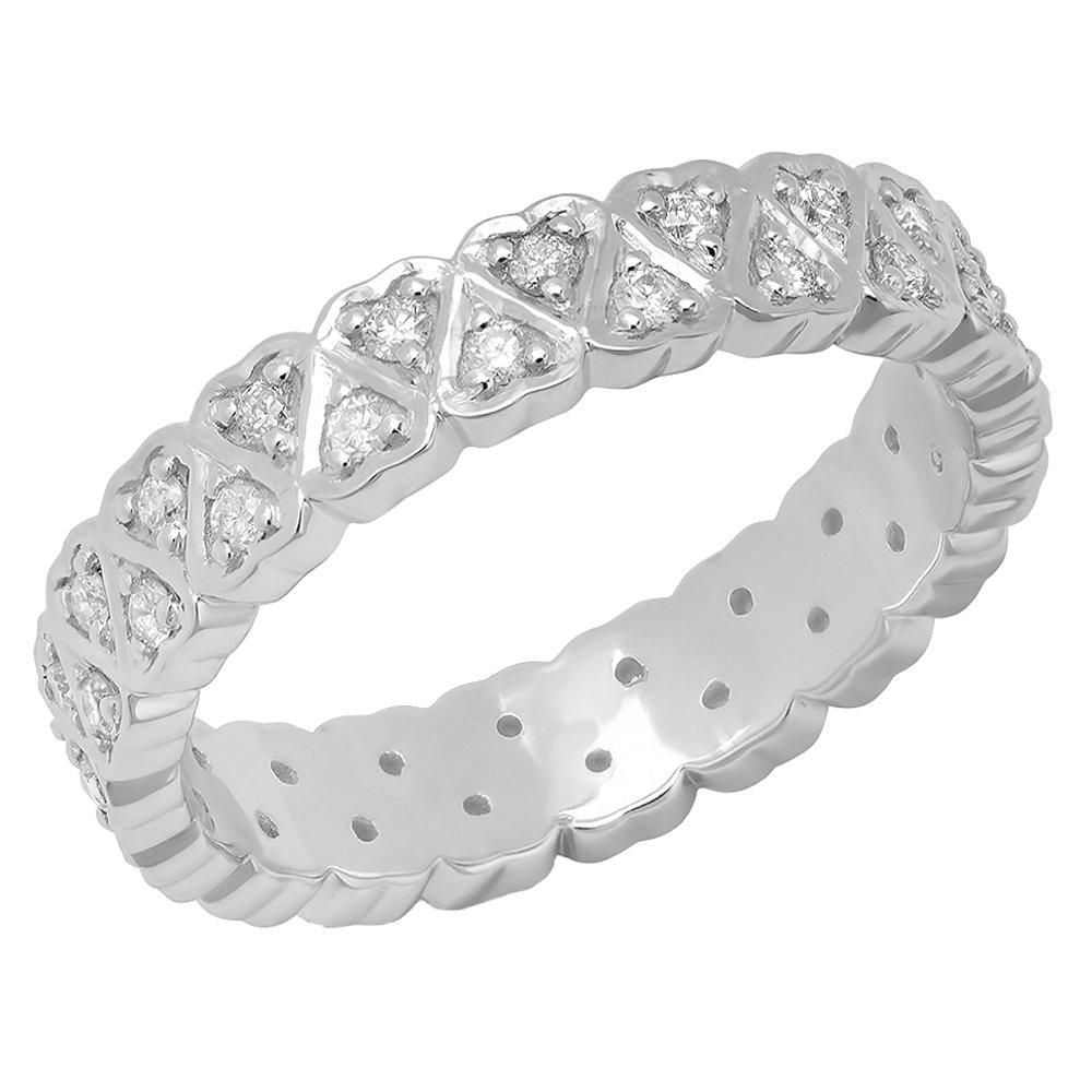 0.50 Carat (ctw) 10K White Gold Round White Diamond Heart Shape Eternity Band 1/2 CT (Size 7)
