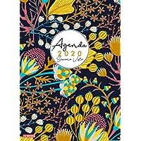 Agenda 2020 Semana Vista: Agenda 2020 12 meses: Organiza tu día - Agenda semanal - Enero a Diciembre 2020 - español - diseño floral - negro (Spanish Edition)