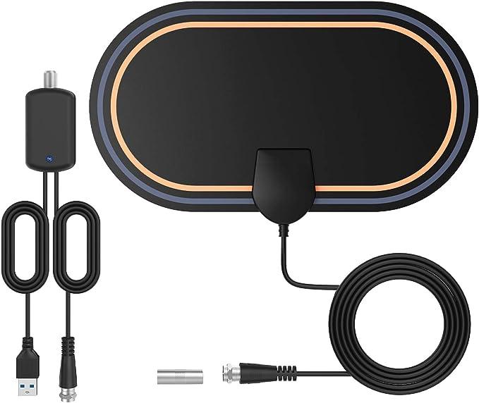 Antena TV Interior-Bqeel Antena TV TNT con 4 m Cable coaxial HDTV Digital con Amplificador de Señal Inteligente Soporte 4K 1080p para Todos los ...
