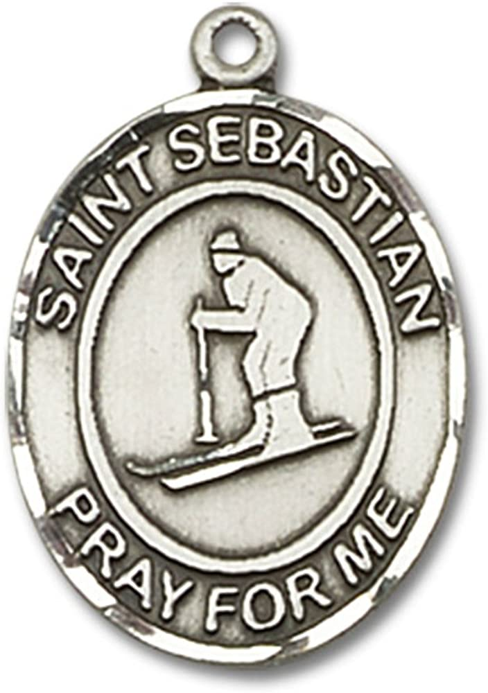 Sebastian Bonyak Jewelry St Skiing Hand-Crafted Oval Medal Pendant in Sterling Silver