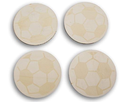 Natural Unpainted Wood Cutout - Balón de fútbol - Juego de 4 ...