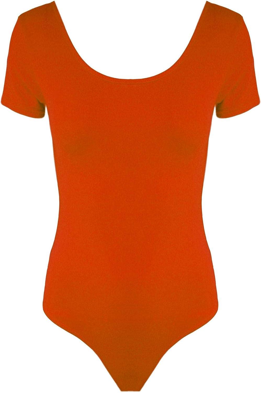 Fashion Star Womens Ladies Stretchy Short Sleeve Casual Plain Scoop Neck Leotard Top Bodysuit
