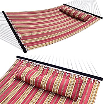 ZENY Hammock Quilted Fabric with Pillow Double Size Spreader Bar Heavy Duty,Burgundy Tan Pattern