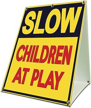 Basic Teal Premium Acrylic Sign 27x18 CGSignLab Slow Down Children Playing