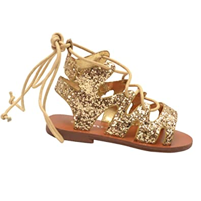 a8b5feb575df Link Products Little Girls Gold Glitter Lace Up Multi Strap Gladiator  Sandals 10 Toddler
